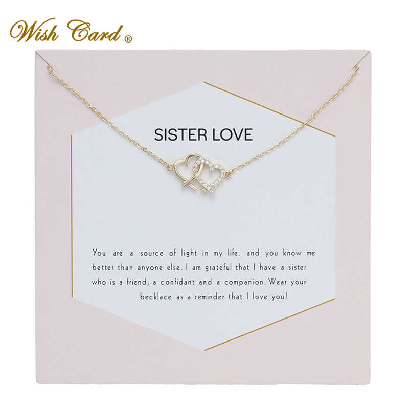 Wish Card Double Heart Sister Love Gold Chian Necklace Crystal Pendant Sister Gift Memory Wedding Necklace Dropshipping EY6001