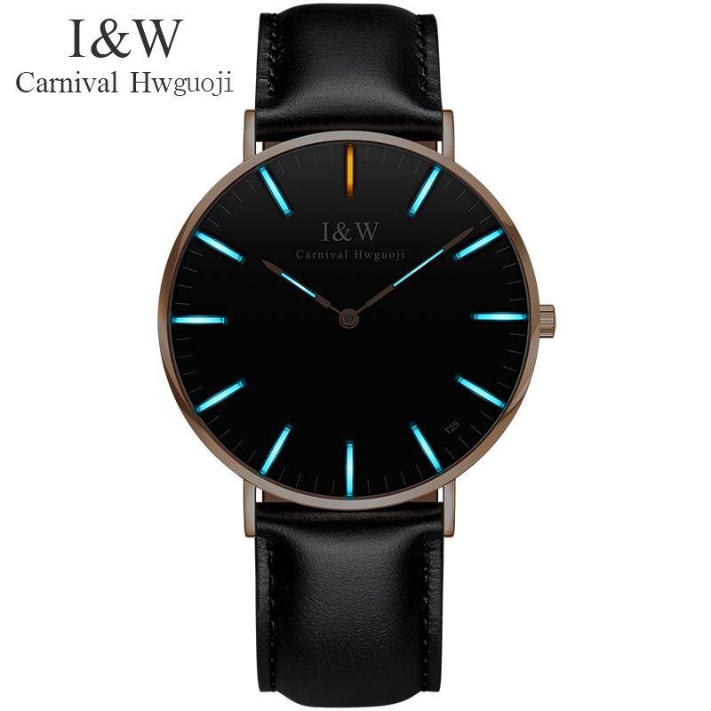 Carnival Ultrathin Tritium self luminous Analog Quartz Watch Men Watch with Sapphire Waterproof Fashion Casual relogio masculino