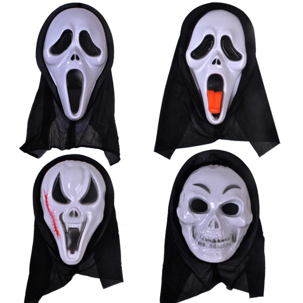 Halloween mask skull mascaras terror scream black face hood mask masquerade party mask latex - Masque halloween horreur ...