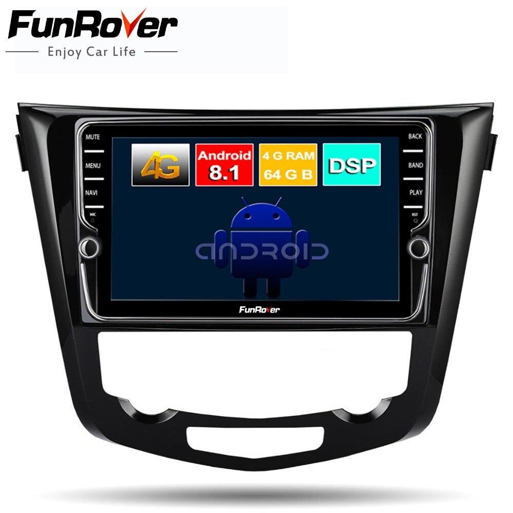 Funrover 8 núcleo android 8.1 multimídia carro dvd player para Nissan X-Trail Qashqai 2014-2017 rádio estéreo navegação gps navi DSP