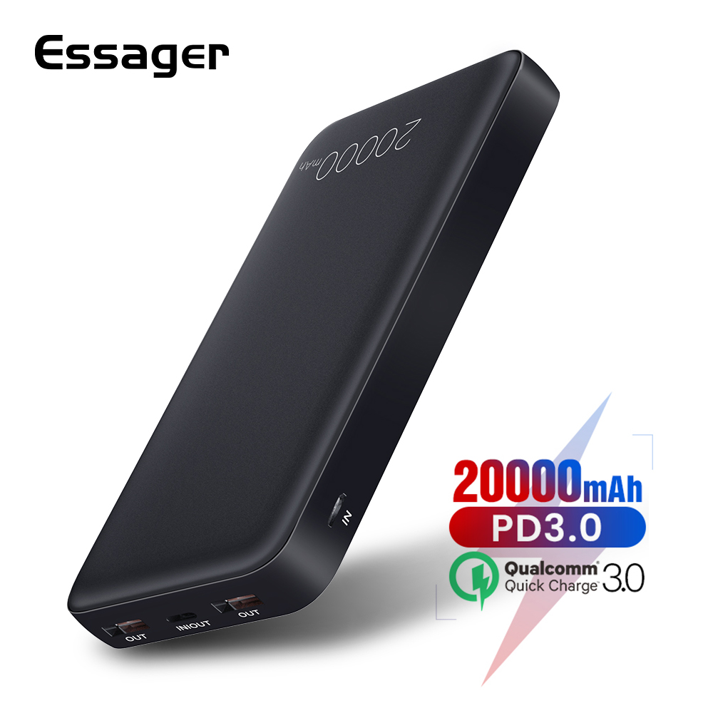 Essager 20000mAh Power Bank Quick Charge QC 3.0  USB Type C PD Powerbank For Xiaomi mi Samsung Portable Charger External BatteryEssager 20000mAh Power Bank Quick Charge QC 3.0  USB Type C PD Powerbank For Xiaomi mi Samsung Portable Charger External Battery