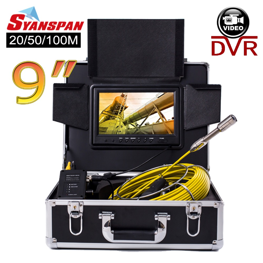 SYANSPAN 20/50/100M Pipe Inspection Video Camera, 8GB TF Card DVR IP68 Drain Sewer Pipeline Industrial Endoscope with 9 Monitor