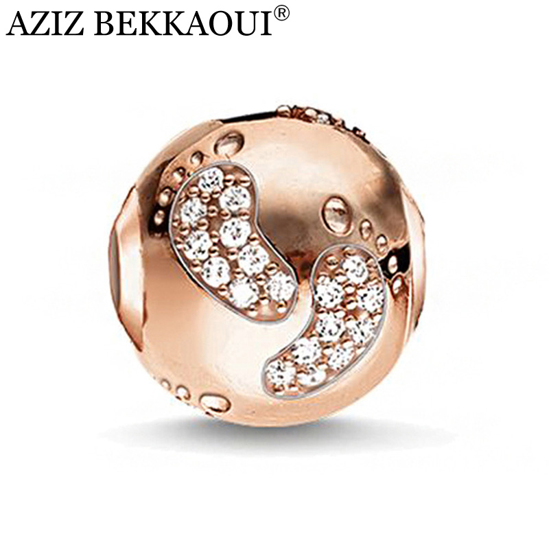 AZIZ Rose gold color big hole diy charms crystal cute baby foot