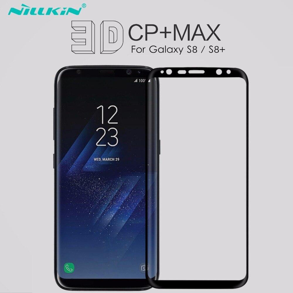 imágenes para Nillkin plus protector de pantalla de vidrio templado para smasung galaxy s8 para galaxy s8 película protectora completa cobertura 3d curvada cp + Max