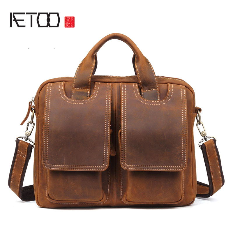 AETOO New crazy horse leather men bag retro casual men's business briefcase shoulder Messenger bag retro british school women messenger bag embossed hollow out shoulder briefcase department of forestry casual satchel