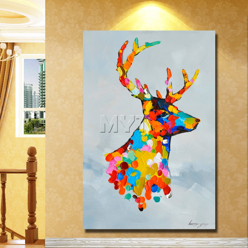 Christmas deer decoration hand drawing cartoon animal oil paintings ...
