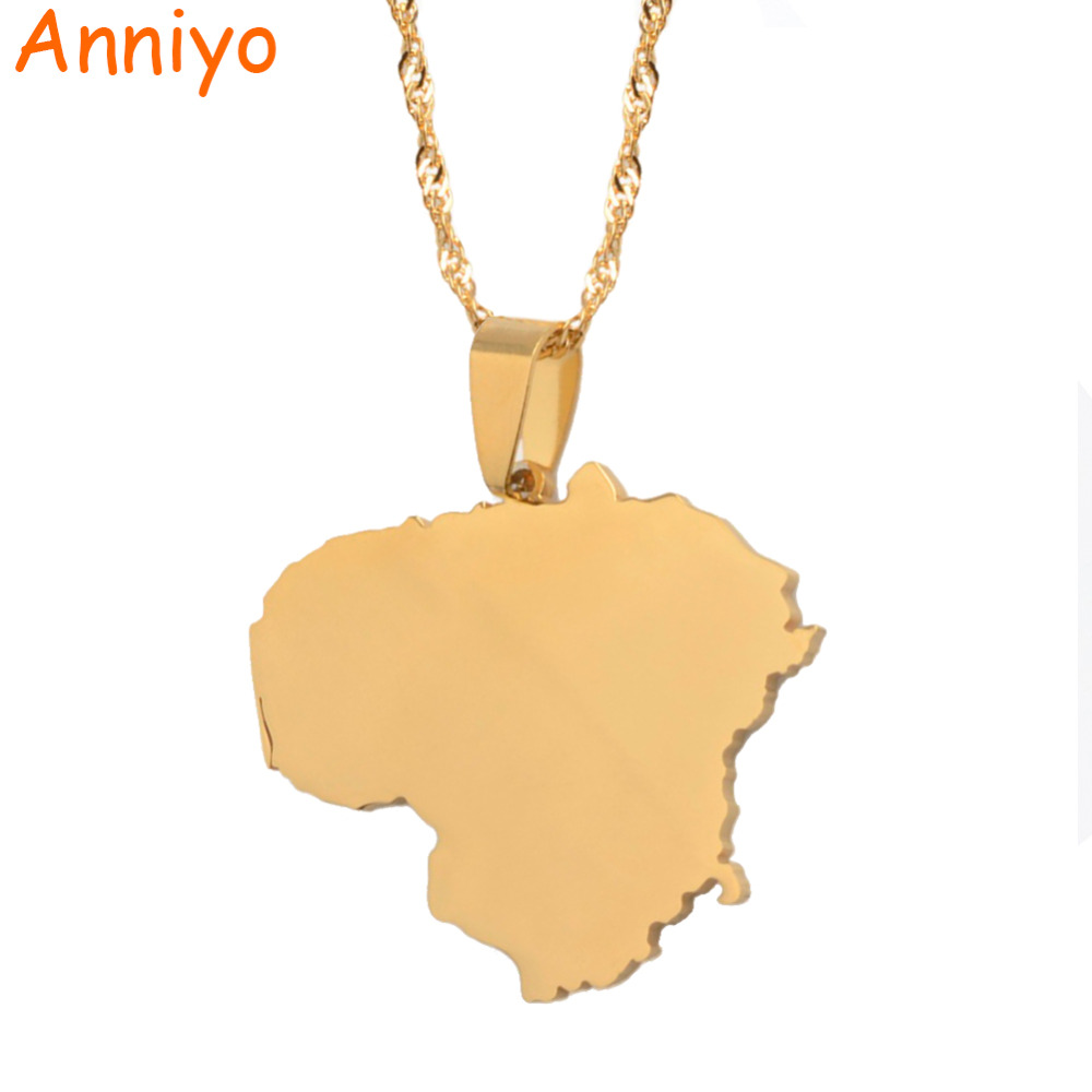 Anniyo Lithuania Map Pendant Necklaces Trendy Gold Color Lietuvos Maps Jewelry Gifts #014221