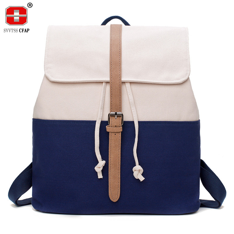 Preppy Style canvas school backpack girls adolescent fashion Patchwork drawstring bag student book bag summer back pack women