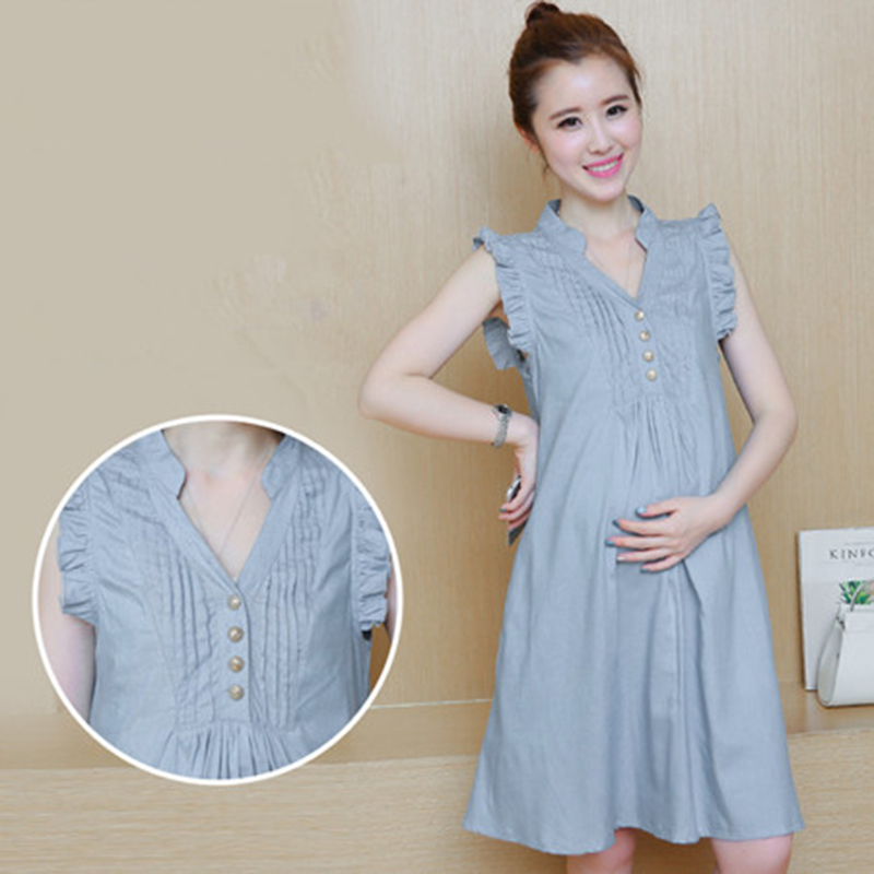 Denim Maternity Sundress For Pregnant Dress Women Clothes ...