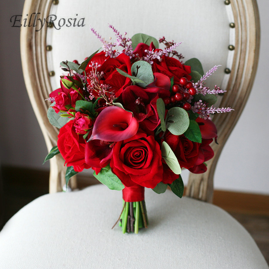 Red Artificial Flowers Real Touch Calla Lily Cymbidium Roses Wedding Bouquet for Bride Vintage Country Bridal Bouquet Boho Style