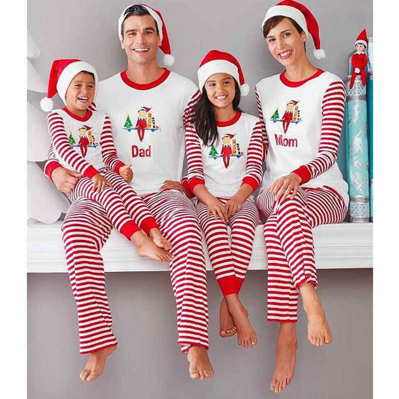 Christmas Pjs.Pudcoco Newest Pop Family Matching Christmas Pajamas Pjs Sets Xmas Sleepwear Nightwear Casual T Shirt Long Striped Pants