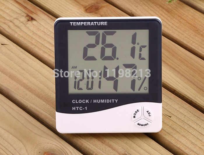 2 шт. Цифровой термометр гигрометр закрытый электронный Температура измеритель влажности Часы метеорологическая станция тестер влажности дома HTC-1