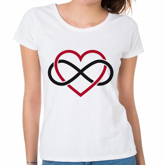 New Arrivals Korean T Shirts Women Infinity Heart Never Ending Love