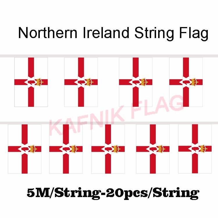 KAFNIK,5 meters 20 faces 14*21CM Northern Ireland String Flag Banner Bar For Party Decoration/World Event Carnival Decor