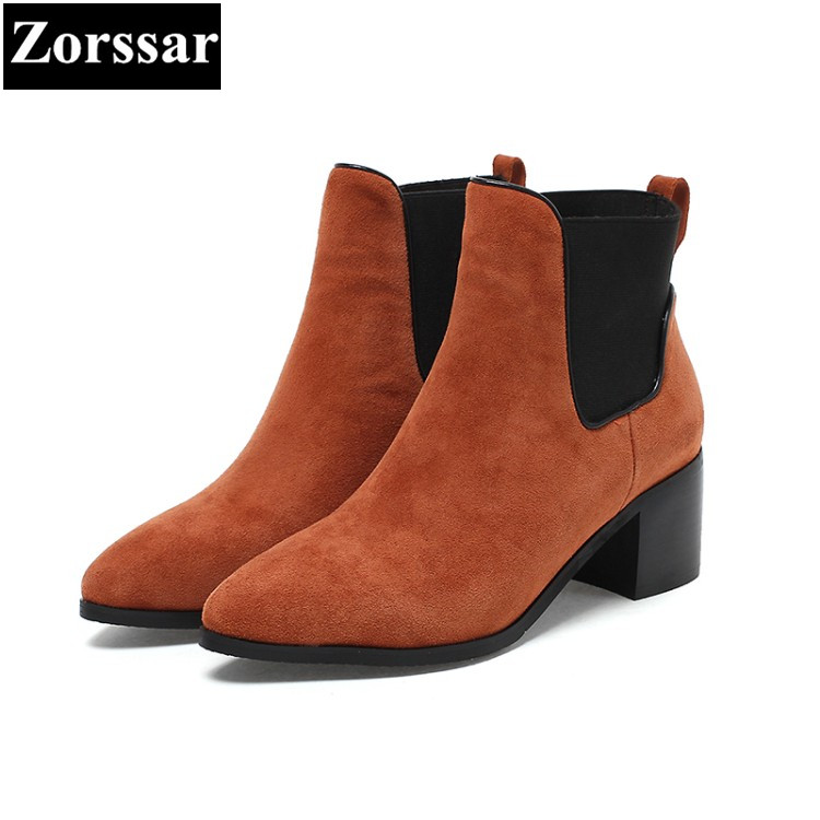 {Zorssar} NEW arrival fashion Kid Suede Women Chelsea Boots pointed toe thick heel ankle Martin boots autumn winter female shoes women spring autumn thick mid heel genuine leather round toe 2015 new arrival fashion martin ankle boots size 34 40 sxq0902