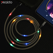 Yesido 1.2m Multicolor LED Voice Control USB Type C Cable For Samsung S10 Huawei P30 Pro Fast charger Data for S9