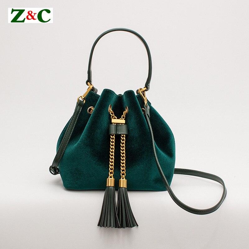 Luxury Women Bucket Bag Velvet Leather Velvet Ladies Handbag Tassel Female Messenger Bags Gold Chain Shoulder