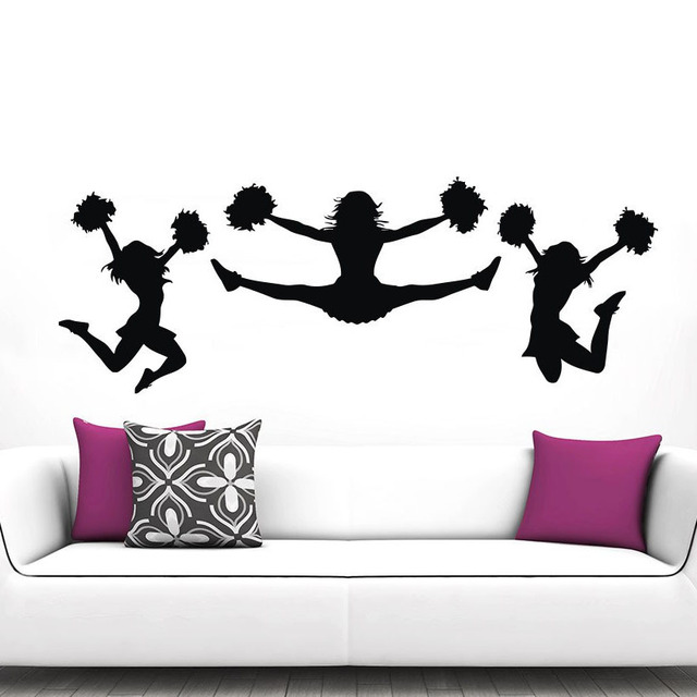 jencourage stickers muraux gym sport fille pom pom girl mur dcor affiche art - Stickers Muraux Design Decoration