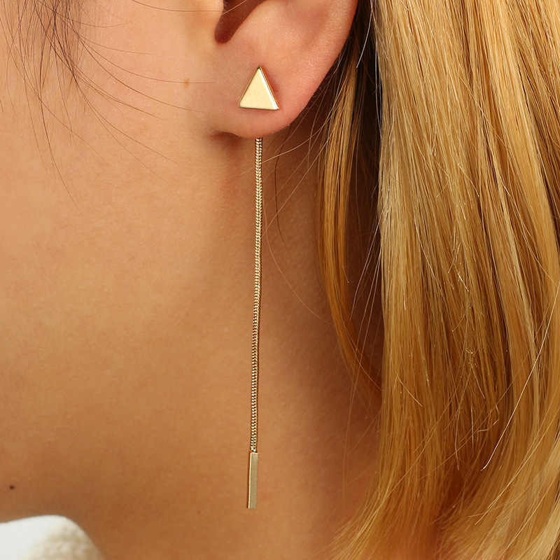 Triangle Double Sided Earrings Stud Earring Gold color Earings Stainless Steel Earrings For Women Jewelry Brincos