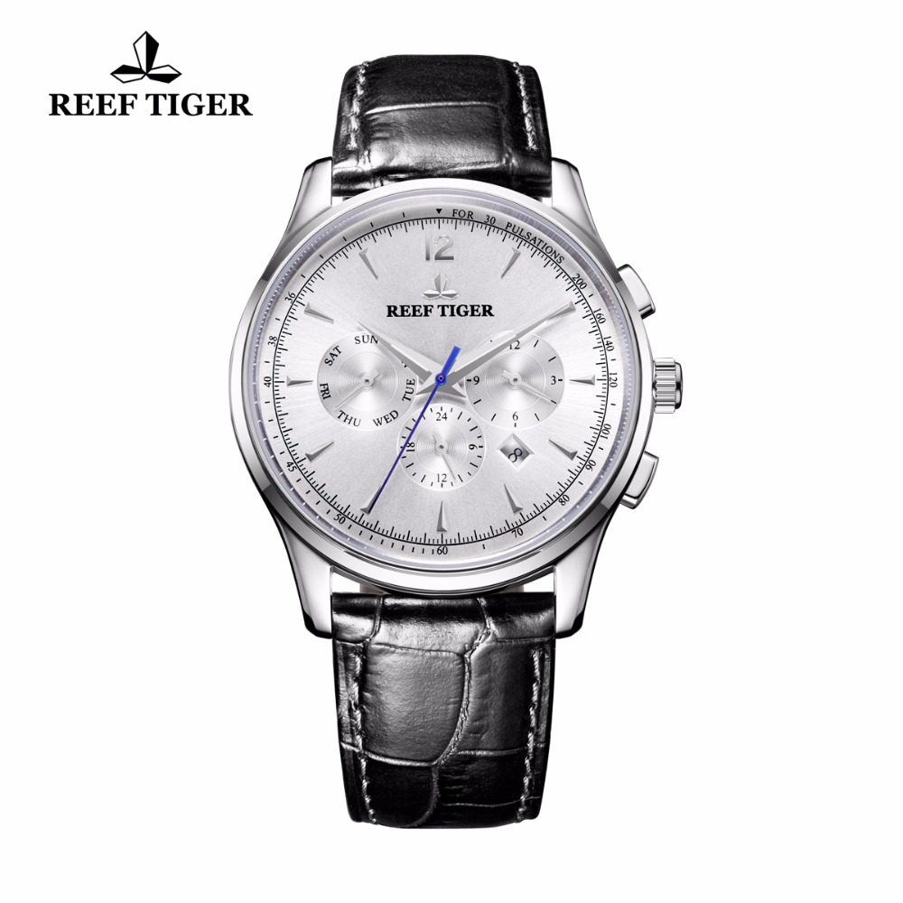 Reef Tiger/RT Top Brand Automatic Watches Men Calendar Steel Waterproof Watch Genuine Leather Strap RGA1654 reef tiger rt top brand luxury automatic watches men sports calendar waterproof genuine leather strap watch relogio masculino