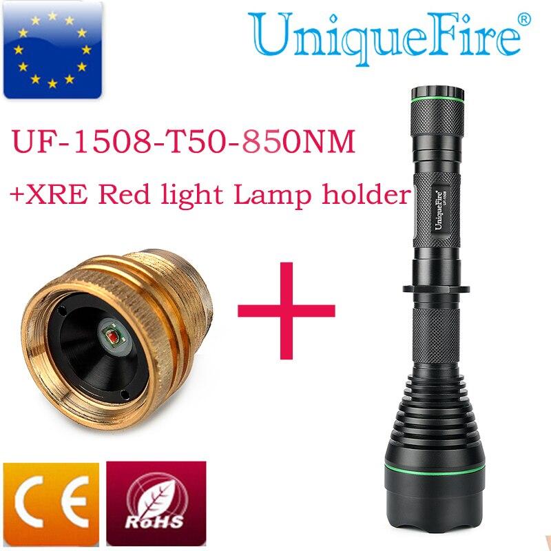 UniqueFire Shooting Light 1508 IR 850nm Infrared Flashlight 3 Modes+ Cree XRE Red Light Lamp Holder Hunting Kit Set Illumination