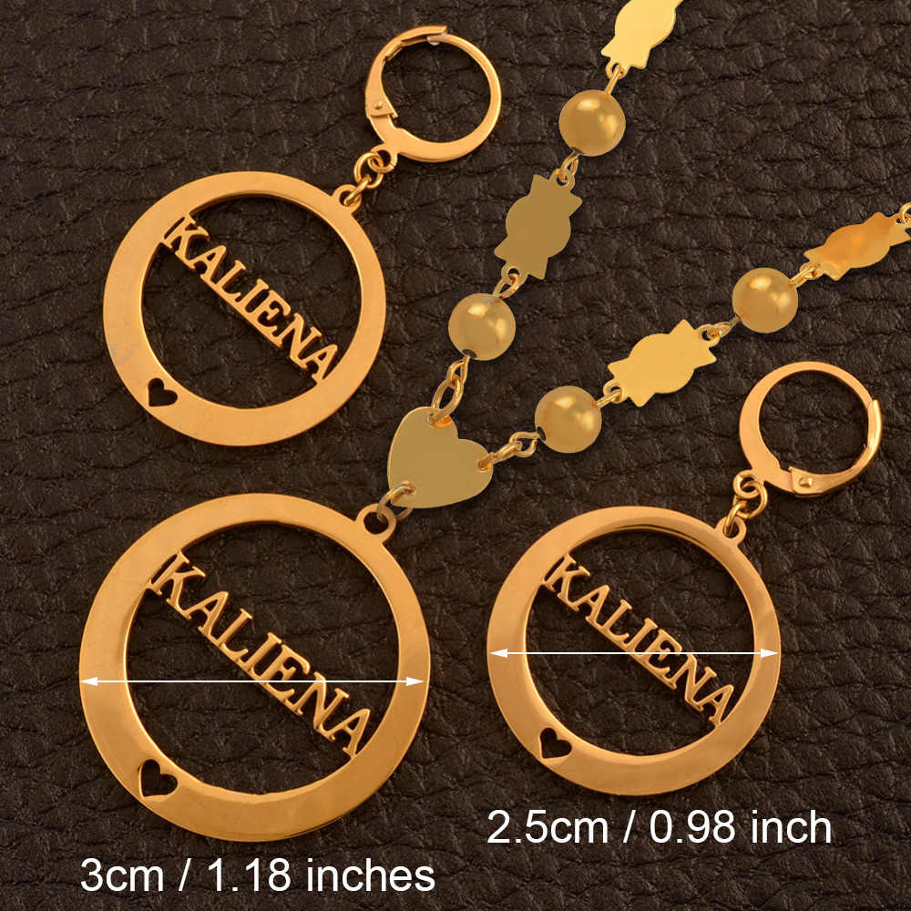 Anniyo Name KALIENA Pendant Beads Necklaces Earrings sets for Woman's Gold Color Ball Jewellery/ CANNOT Customize Name #035921S