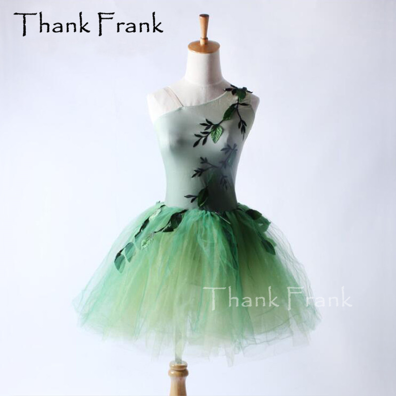 Tree Leaves Ballet Tutu Dress Children Adult One Shoulder Neckline Performance Dance Costume C294