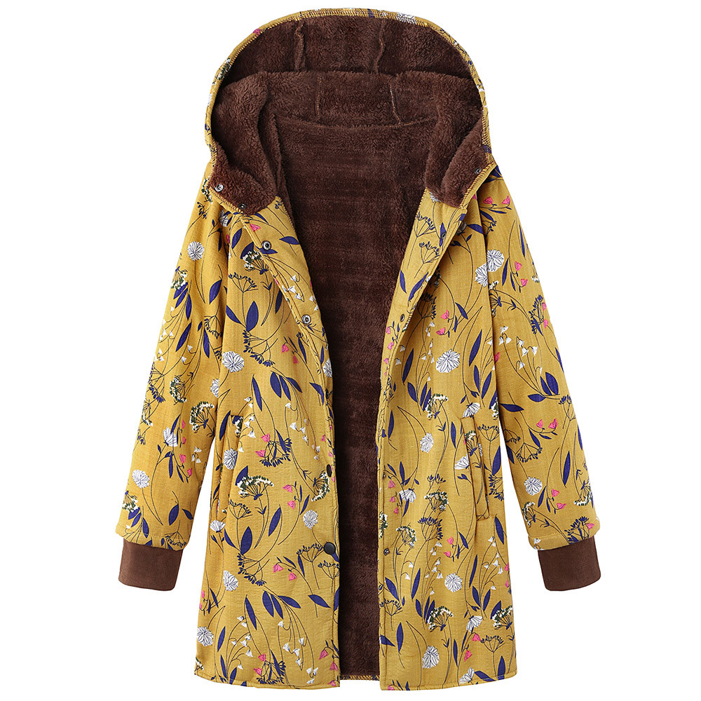 Womens Hooded Pockets Winter Warm Outwear Floral Print  Vintage Oversize Coats Puncak wanita#L4
