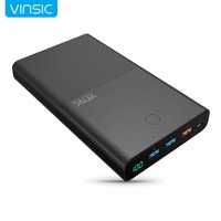 Vinsic 28000mAh Quick Charge Power Bank 5V/9V/12V Smart QC 3.0 2 USB Ports 18650 Lithium External Battery for iPhone X Xiaomi