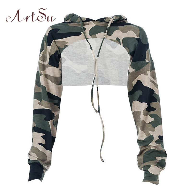 ArtSu Camouflage Harajuku Hoodies Hooded Sexy Cropped Hoodie Long Sleeve Sweatshirts Ladies Tracksuit Crop Top ASHO20049