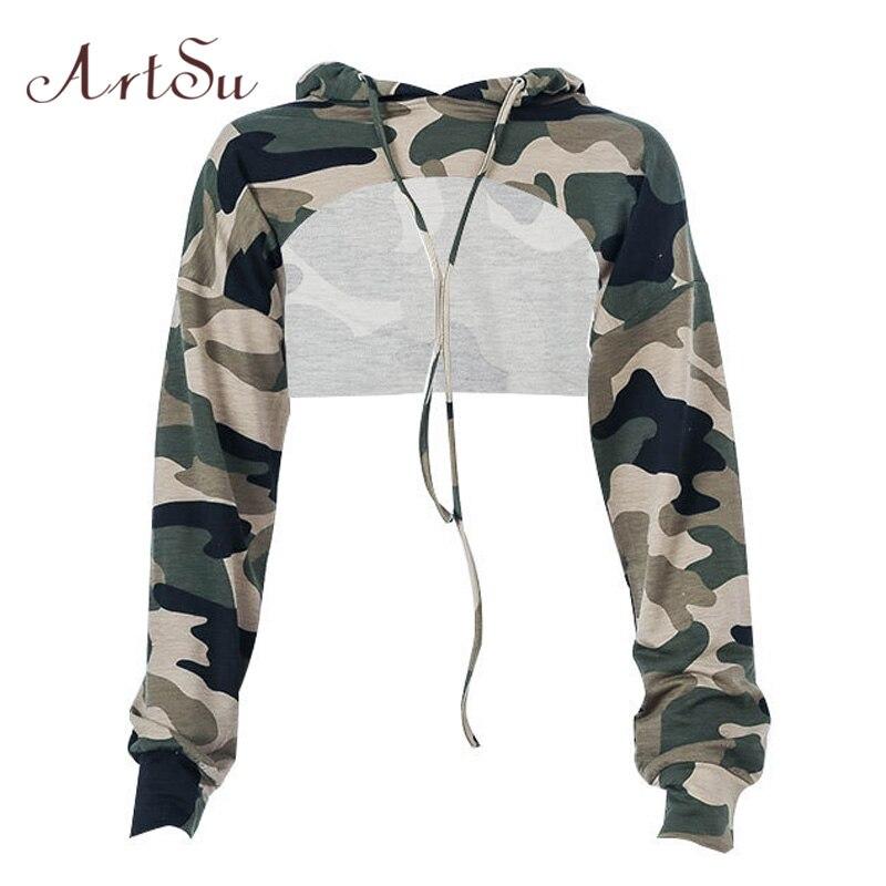 ArtSu Camouflage Harajuku Hoodies Hooded Sexy Cropped Hoodie Long Sleeve Sweatshirts Ladies Tracksuit Crop Top ASHO20049