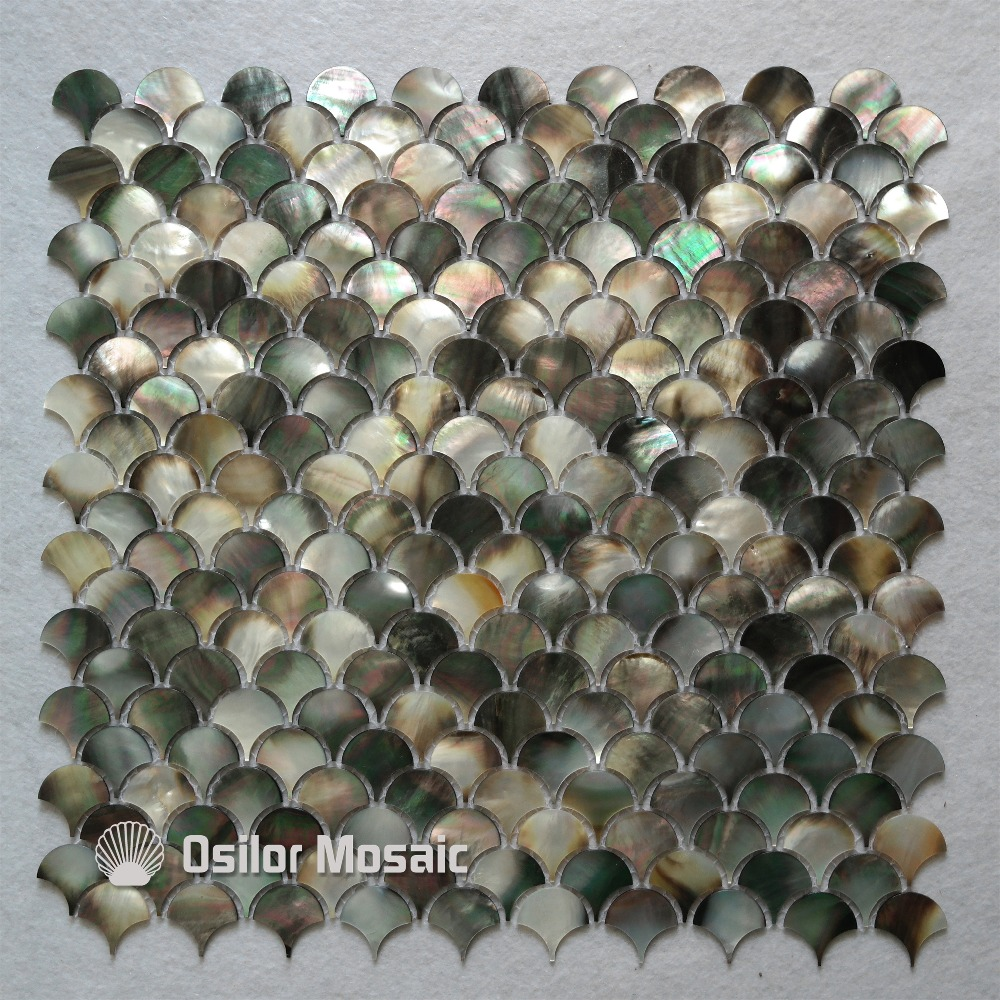 Natural black colour fan shape pattern 100% natural sea shell black mother of pearl mosaic tile for home decoration wall tile brick pattern 100% blacklip sea shell natural black color mother of pearl mosaic tile for interior house decoration wall tiles