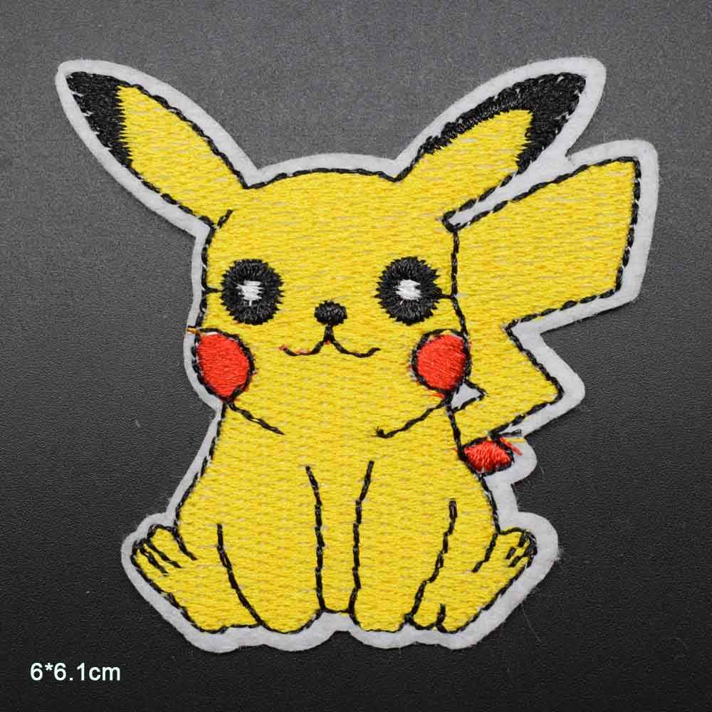 Cartoon Squriel Pikachu Animal Iron On Embroidered Clothes Patches For Clothing Stickers Garment Wholesale