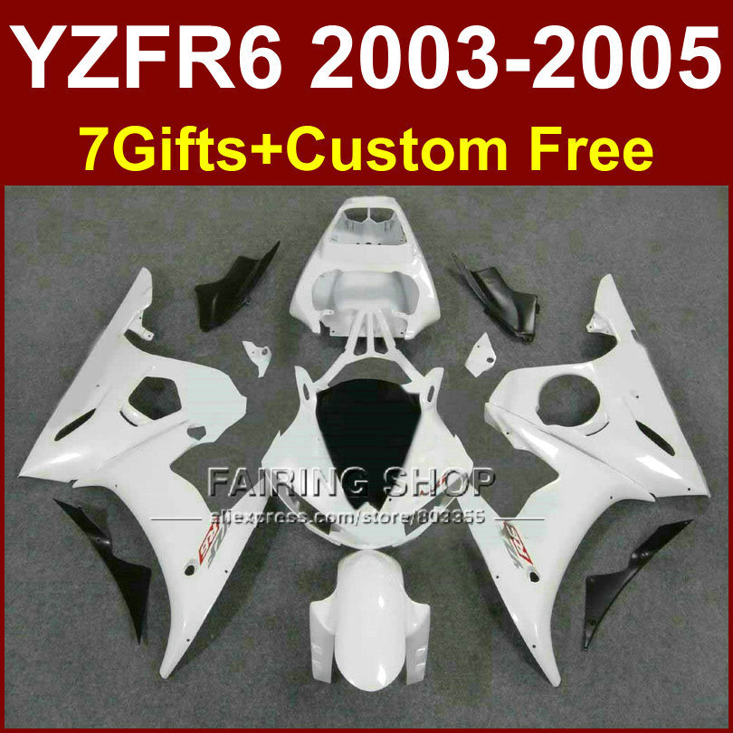 Classic white R6 custom fairing parts for YAMAHA r6 Motorcycle fairings sets 03 04 05 YZF R6 2003 2004 2005 fairing kits KI5T