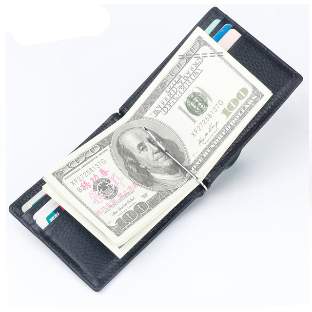 Limited Edition Genuine Leather Wallet Male Purse RFID Thin Billfold Folded Clamp for Money Credit Card Case Cash Clips