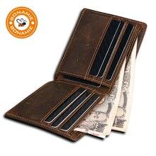 BONAMIE HOT Genuine Leather Men Wallet RFID Blocking Design Monederos Male Purse High Quality Card Holder Wallet Gift For Men