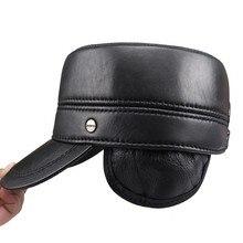 2a8d0e13 Men Women Warm Military Hat 100% Sheepskin Black Brown Genuine Leather Baker  Boy Hat Army