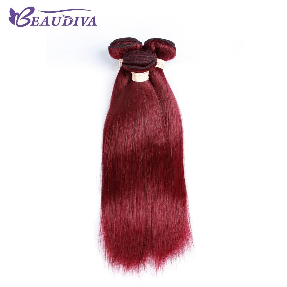 BEAUDIVA 事前色ブラジルストレートヘア 99J バーガンディ絹のようなストレート 3 個色の髪ストレートブラジル髪  グループ上の ヘアエクステンション & ウィッグ からの ヘアウィーブ の中 1