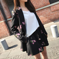Fashion Floral Leaf Embroidery Blazers 2016 New Autumn Notched Single Breasted Slim Black Suit Long Coat