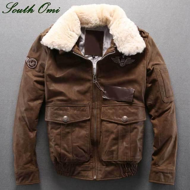 64cb16e536e5 Winter Herren-jacke herren Air Force Stil Flight Anzug Lederjacke  Gepolstert Leder Wolle Kragen Lederjacke