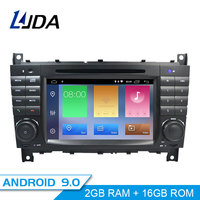 LJDA 2 Din Android 9.0 Car Radio For Mercedes Benz W203 W209 W219 A Class A160 C Class C200 Car Multimedia Stereo GPS DVD IPS