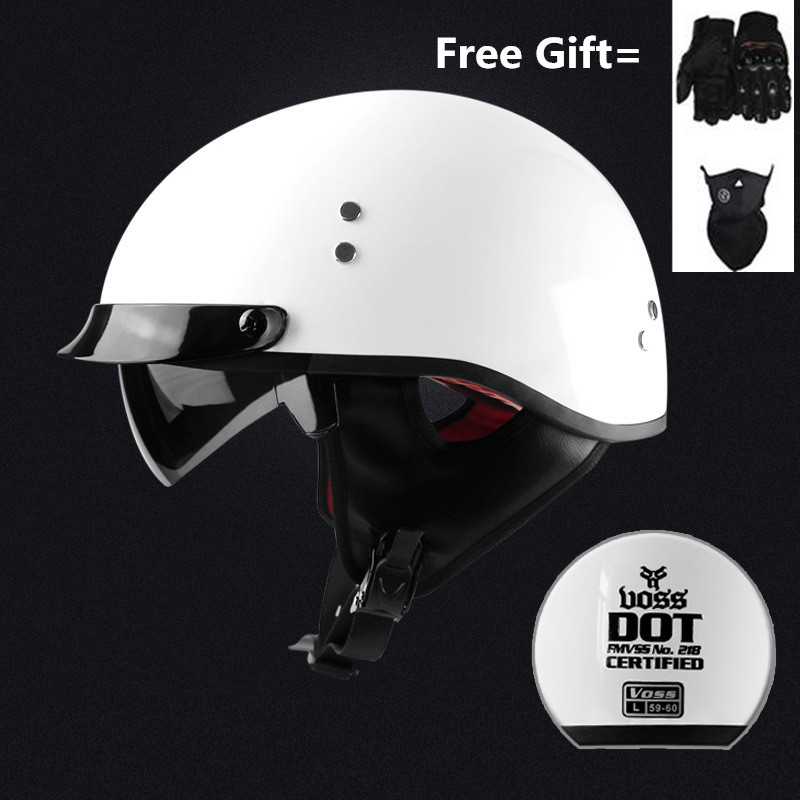 Skull Cap Motorcycle Helmet Vintage Half Face Helmet Retro German Style chopper Cruiser with dark lens