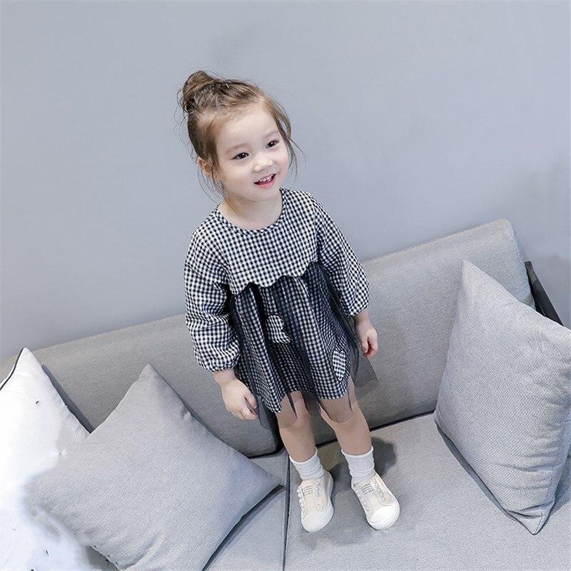 Malayu Baby Little girl spring summer 2018 brand Bohemian style girls plaid long-sleeved dress gauze love doll shirt dress 1-5 Y