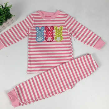 Puresun Wholesale Baby Gir Boy Easter Day Pajamas Sets Children Bunny Embroidery Kids Wear Boutique Easter Stripe Pajamas Set 1
