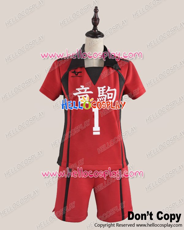 Haikyu Juvenile No.1 Ver Uniform Cosplay Costume H008  red Top + Shorts