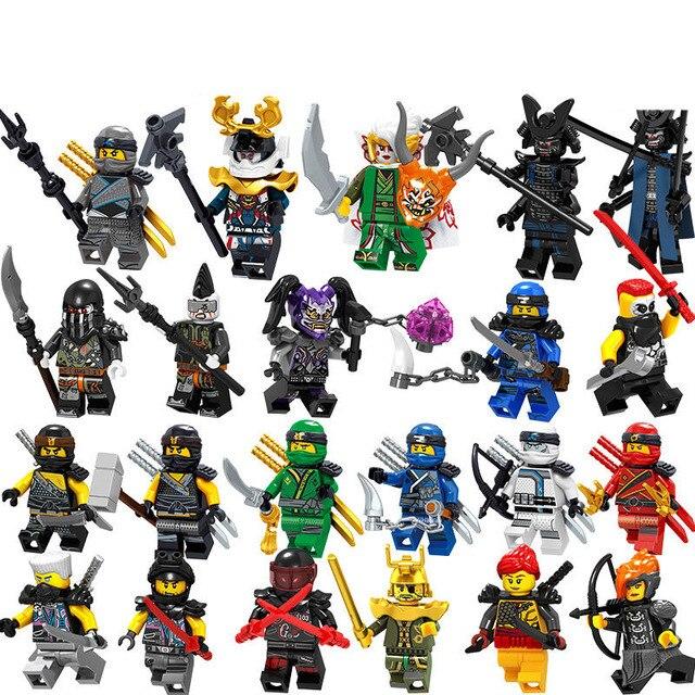 Única Venda Legoing Ninjagoing Figuras Kai Jay Cole Zane Wu Nya Lloyd Garmadon Harumi Pythor Ferro Barão Bloco de Construção Ninja brinquedo