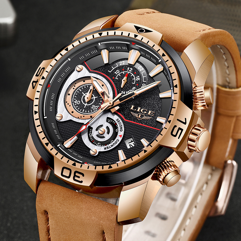 LIGE Business Men Watch New Mens Watches Top Brand Luxury Quartz Gold Watch Men Military Waterproof Sport Watch Erkek Kol Saati forsining full calendar tourbillon auto mechanical mens watches top brand luxury wrist watch men erkek kol saati montre homme