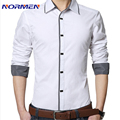 2017 New Brand Mens Cotton Casual Shirt Long-sleeved Slim Solid Dress Men Shirts camisa social masculina chemise homme