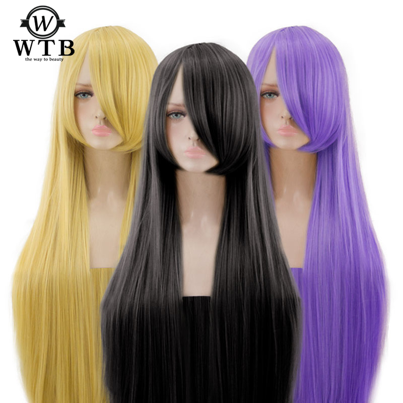 WTB Heat Resistant Synthetic Hair 100Cm Long Staight Cosplay Wig Easy to match Anime Party wigs 26 color Colourful image