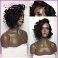 2017 Fashion Human hair bob Wigs curly wave Brazilian virgin hair lace front wigs short bob human wigs full lace human hair wigs